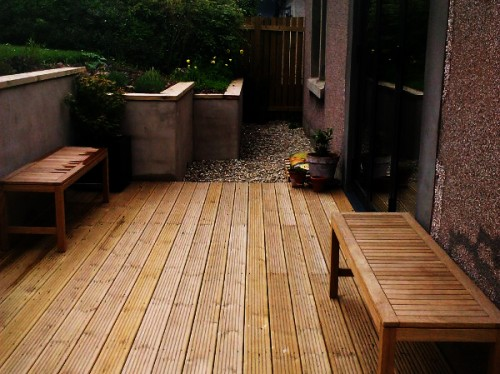 Timber decking and copings.