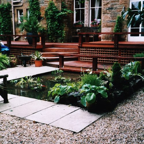 Decking with water feature